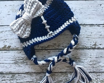Dallas Cowboys Inspired Little Miss Football Beanie in Navy and Silver Available in Newborn to 5 Years Size- MADE TO ORDER