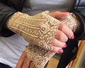 Free shipping! Stretch Lace Gloves in Beige , stretch lace, fingerless lace gloves, Bride, bridesmaid, gift for her.  Ready to ship.