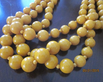 MUSTARD Yellow 3-Strand Round Beaded Necklace