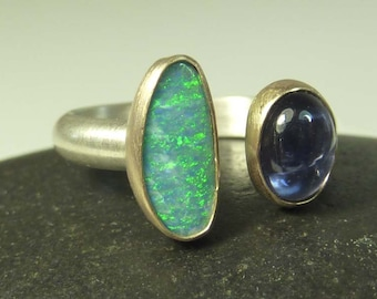 Opal and Iolite Ring set in 14K gold with sterling silver Band