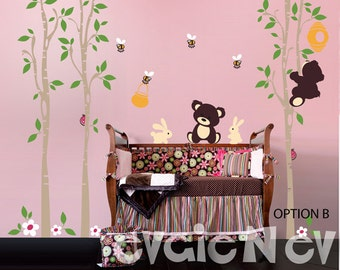 Bears with Honey Pot Wall Decals - Honey Jar, Bee Hive, Bumble Bees, Large Trees and Bunnies for Children Playroom -  PLTBRS040