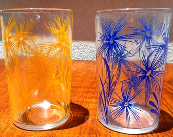 Swanky Swigs Blue & Yellow Vintage Glasses, Pattern #2 Cornflower By Kraft