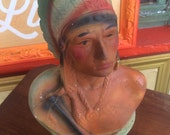 Chalkware. Vintage Chalkware Indian. Native American Bust. Chalk Bust