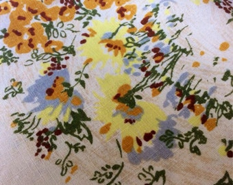 Vintage linen tablecloth - lots of yellow flowers