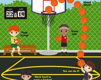 PRINTABLE PERSONALIZED Incentive/Reward Behavior Chart - Basketball Boys - THREE versions!