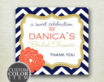 Delilah Design - Floral Chevron Bridal Shower Label // Chevron Label // Personalized Label // Favor Box Label // Wedding Favor Label