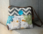 Handcrafted Messenger style crossbody bag.  adjustable strap & button. Gray chevron.  Playground in the city in turquoise