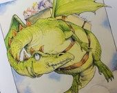 Dragon, fantasy illustration print
