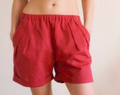 Custom color Linen Women Shorts - Linen Shorts - Summer Womens Clothing - Bermuda Shorts - Women Beach Shorts