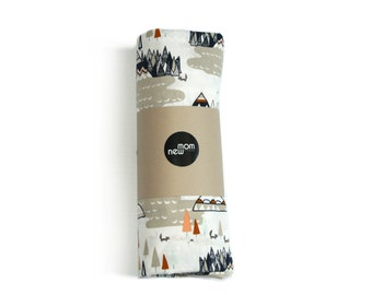 Tribal crib sheet TEEPEES gray- tribal baby bedding- crib fitted sheet- gender neutral nursery -baby sheet- changing pad cover- boy bedding