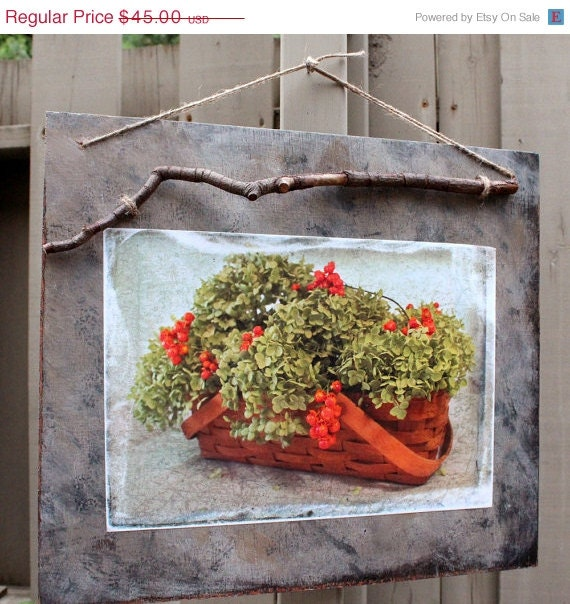 REDUCED Rustic Autumn Wood Plaque, Floral Basket Photograph, Dried Hydrangeas, Bittersweet Berries, Branch Hanger