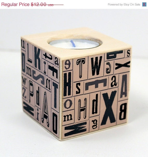 REDUCED Letterpress Alphabet Tea Light Block, Wood Finish, Typeset Letters, Candle Holder