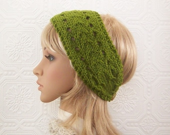 Hand knit headband, boho headwrap - turtle green - Women's Accessories Winter Fashion Winter Accessories Sandy Coastal Designs ready to ship