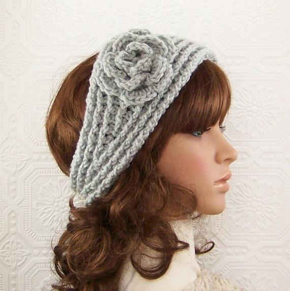 Handmade crochet headband, headwrap, ear warmer - light gray - womens accessories Fall Winter Fashion by Sandy Coastal Designs ready to ship