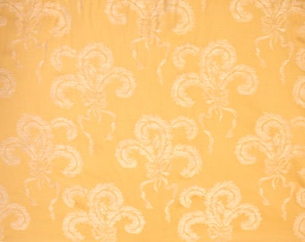 Yellow Damask Fabric - Vintage Designer Fabric, French Home Decor, Plumes & Ribbons Pattern, Decorator Fabric, Fabric by the Yard