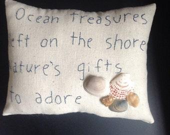 Primitive Hand-stitched Beach pillow