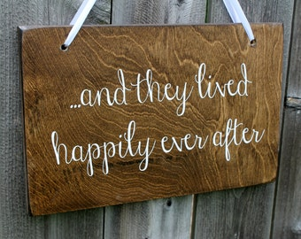 "9"" x 14"" Birch Wedding Sign: Single or Doulbe sided - Here comes the Bride!l & .....and they lived happily ever after"
