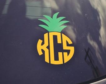 Pineapple Monogram Decal - Car Decal - Pineapple - Monogrammed - Window
