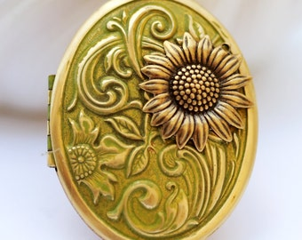 Locket, Moss Green,Jewelry Gift,Sunflower Brass Locket, locket necklace,photo locket,brass oval locket,brass locket,Wedding Necklace