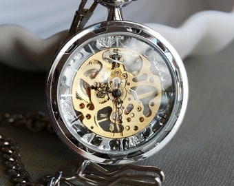 Silver Personalized Mens Pocket Watch,Mechanical Pocket Watch,Steampunk Pocket Watch,Pocket Watch Chain,Groom Gift,Groomsmen Gift