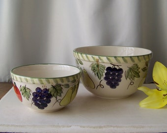 Vintage Pottery Mixing and Serving Bowl Set Country Kitchen Mixed Fruit Ceramic Bowls Made in China Vintage 1980s