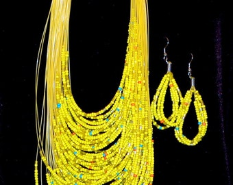 Sixties multi-stranded beaded necklace with matching earrings