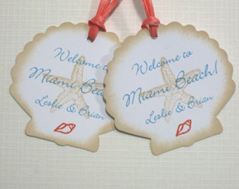 10 Personalized Tags - Seashell Starfish Seashore Thank You Tags - Tropical Wedding Tags - Destination Wedding Tags - Beach Wedding Tags