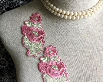 Vintage Applique - 3 PCS Pink Flower  Applique Lace (A227)