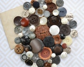 Vintage Button Lot - Brown, Grey, Black and White Set - Mix 867