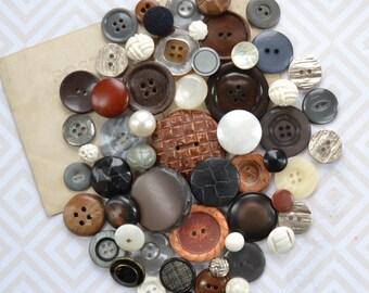 Vintage Button Lot - Brown, Grey, Black and White Set - Mix 867