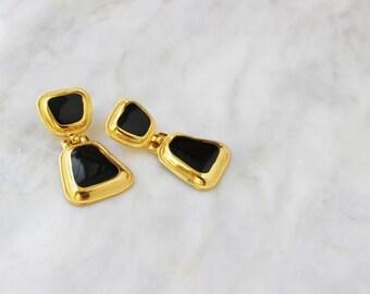 80s - 90s - Black - Enamel - 2 - Drop - Gold - Earrings - Dangle - Drop - Pierced - Door Knocker