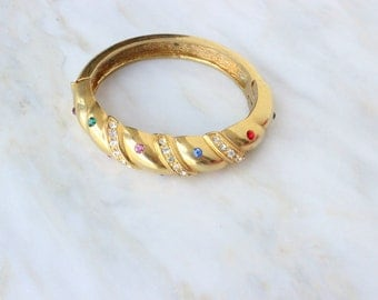 90s - Bangle - Rhinestone - Gold - Multi Color - Hinged - Bracelet - Bangle