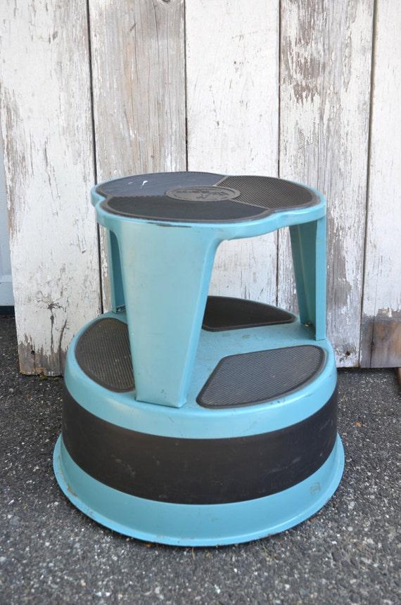 Industrial Metal Round Stool Kik Step Turquoise By