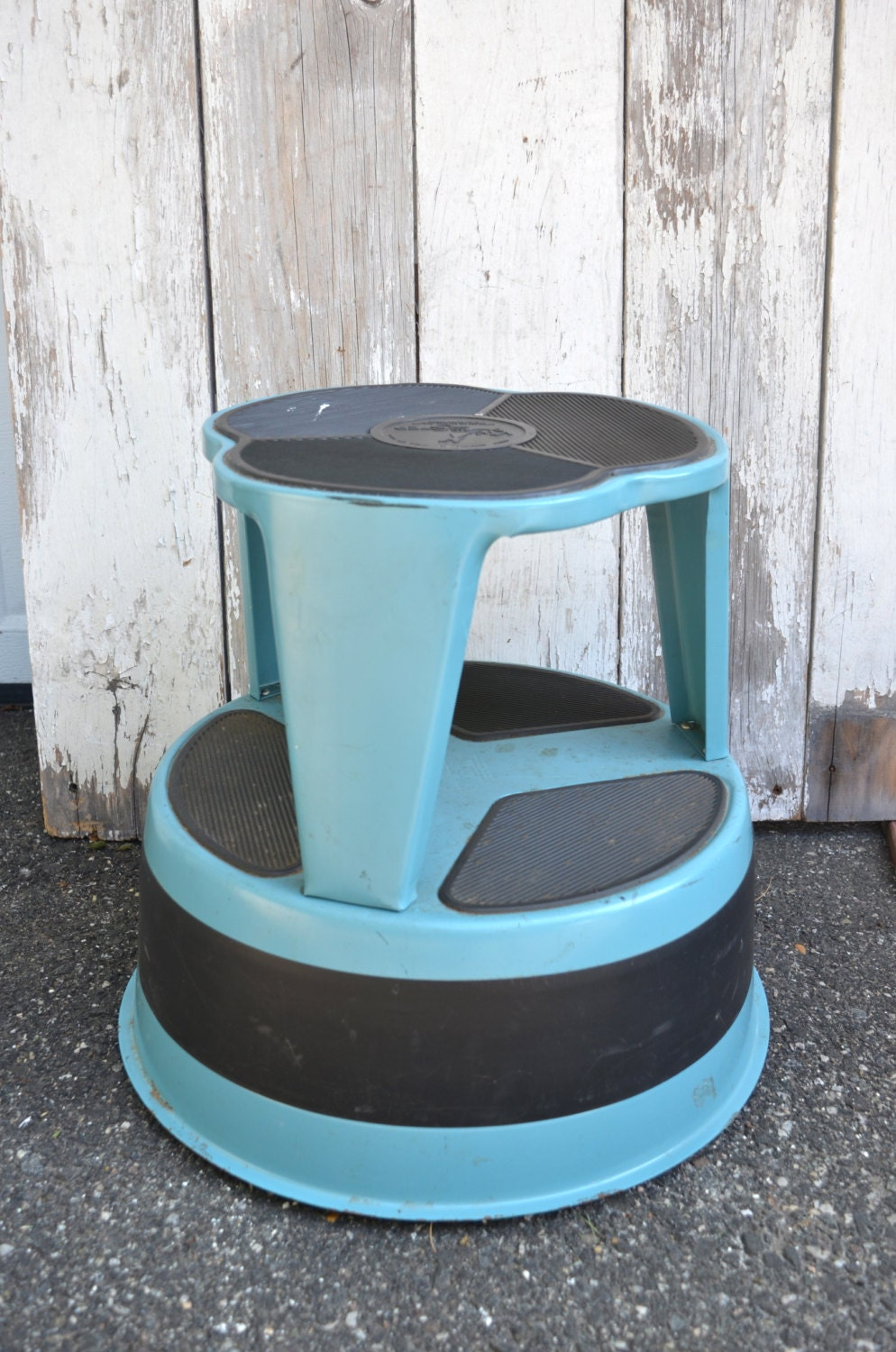 Industrial Metal Round Stool Kik Step Turquoise Blue