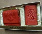 Wallet & Key Case Set. Princess Gardner. Leather, Coral. Vintage 1960s. Unused in Original Box. Clutch Wallet, Coin Change Purse, Key Chain.