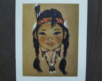 7 Bridge Tally Cards. Indian Girl Children. Chris Tiffersey Art Prints. Vintage 1960. Paul Ruthling, Cactus Pony. Gift Cards Tags. Set of 7.