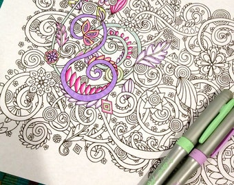 Adult Coloring Page Swirls and Flowers Doodle Design Zentangle Printable Instant Download Kids Art Activity