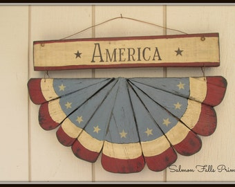 Primitive Colonial America bunting~Wooden Americana bunting
