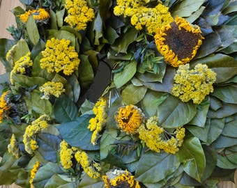 Sunflower Wreath   Autumn Wreath  Sunflowers   Elegant Wreath  Salal Wreath  Dried Wreath  Front Door Wreath  SALE