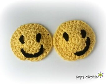 Emoji Crochet Pattern - Smiley Applique crochet pattern or Coaster Crochet Pattern- includes overlay tutorial pdf