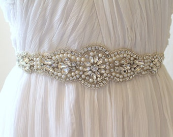 Bridal Pearl Crystal Medallion Sash. Vintage Rhinestone Applique Wedding Belt. Bride Sash.  JANE