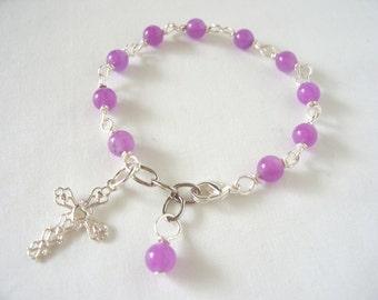 purple rosary bracelet, violet quartz rosary bracelet, cross bracelet, prayer beads, Catholic rosary bracelet, great  gift idea