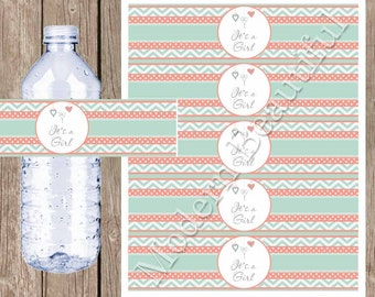 Coral and mint chevron water bottle labels, hearts, baby shower water bottle wrap, it's a girl water bottle label, mc1 INSTANT DOWNLOAD