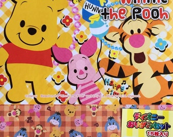 Disney character Winnie the Pooh in wonderland Origami paper set (chiyogami)