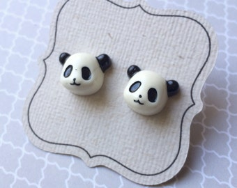 Titanium Panda Bear Earrings, hypoallergenic posts