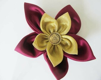 Double Flower Brooch Large Fabric Gold Flower Ruby Red Maroon Flower Brooch Accessories