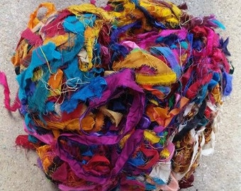 Reclaimed, Recycled, Silk Sari - Shredded Bits and Pieces - 3.4 ounces, one inch to several inches long - Fair Trade