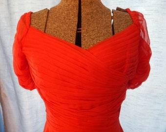 1950's Designer Gothe Red Silk Chiffon Dress