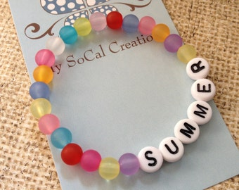Personalized Name Bracelet-Any Name-Any Phrase-Any Word-Beaded Stretch Bracelet