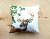 Paint by Number Deer Pillow Cover - buck, stag, woodland, vintage, retro, cushion